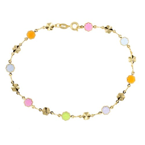"""7"""" Multi-Color Flower Shape Crystal Yellow Gold Plated Brass Bracelet"""