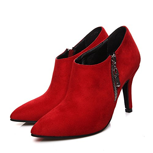 BalaMasa Ladies Stiletto Winkle Pinker Zipper Frosted Boots Red my4kB