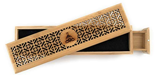 OneSoul Collection Bamboo Incense Holder Ash Catcher with Storage Drawer in a Luxury Gift Box
