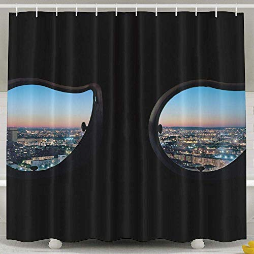 Khom Architecture Building City Scape Window Paris France Sunset Evening Lights Black Background Non Toxic Bathroom Curtains 60x72inch