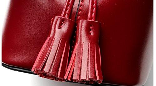 PINCHU Kvinnor 2-i-1 hink hobos axelväska med tofs, röd Brun