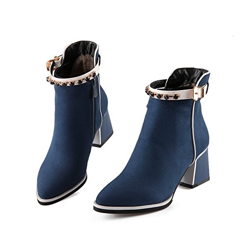 Toe Closed Blue Women's Frosted AmoonyFashion top Zipper Boots Kitten Low Pointed Heels za8HaPqnW