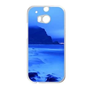 Personalized Creative Cell Phone Case For HTC M8,glam blue sea and skt and misty mountains