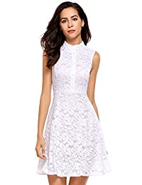 Meaneor Women's Vintage Hollow Out Crochet Mock Neck Lace Dress