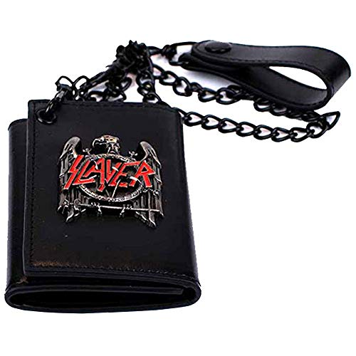 H3 Sportgear Slayer Black Eagle Metal Badge Trifold Chain Wallet