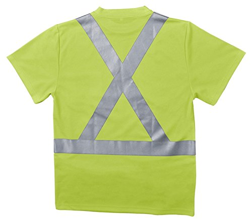 ERB 62185 9006Sx Class 2 Birdseye Knit Mesh T-Shirt with X Back Reflective Tape, Hi-Viz Lime, 3X-Large by ERB