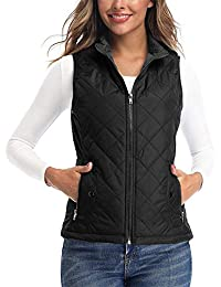 Women's Vests - Padded Lightweight Vest for Women, Stand Collar Quilted Gilet with Zip Pockets