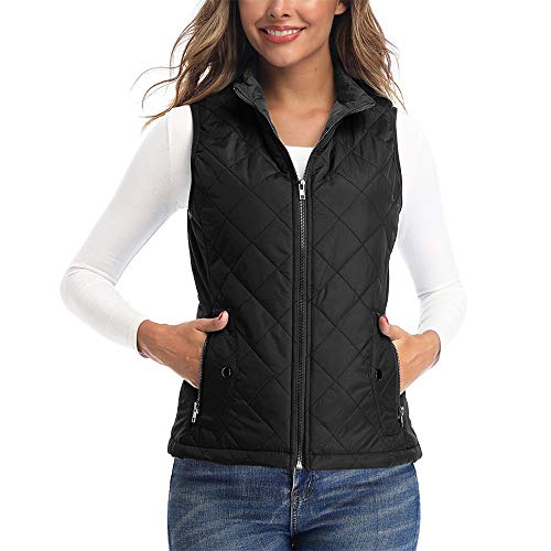 Art3d Women's Vest - Padded Lightweight Vest for Women, Stand Collar Quilted Gilet with Zip Pockets, Black - M(Fits Like Small)