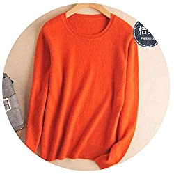 Autumn Winter Cashmere Cotton Blended Knitted Women Sweaters And Pullovers Jersey Xxx Large Orange
