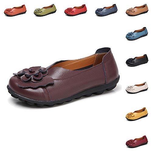 Fleurs Plates 11 Femmes Conduite Gaatpot Chaussures Mocassins Couleurs De Respirant Loafers Café Casual Sandales Cuir Bateau 5pO8On