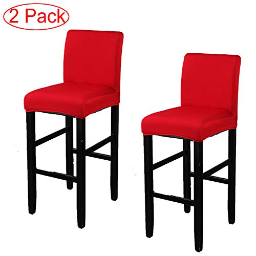 LJNGG 2 Pack Chair Cover Slipcover Counter Stool Covers Dining Room Kitchen Bar Stool Cafe Furniture Chair Seat Cover Stretch Protectors Only Chair Cover(Red)