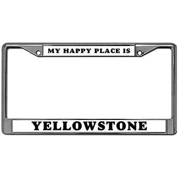 Black License Plate Frame I Heart Yellowstone Auto Accessory Novelty