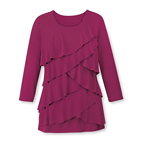 Women's Ruffle Front Long Sleeve Scoop Neck Top, Burgundy, Medium - Made in The ()