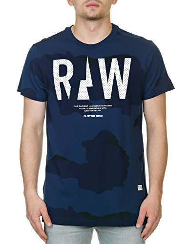 G-Star Raw Men's Rowack R T Short Sleeve Tees Sapphire, Sapphire Blue Aop, Large by G-Star Raw
