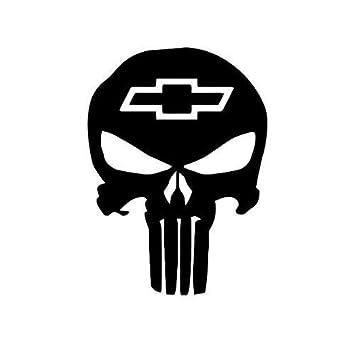 Amazon Com Chevy Bowtie Punisher Skull Decal Premium White