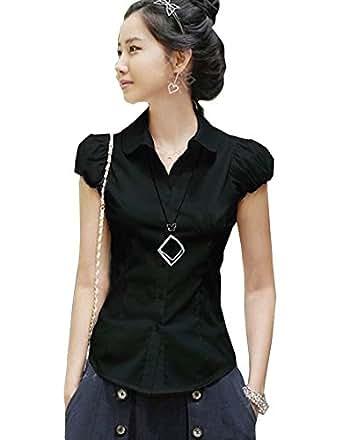 DQQ Women's Cotton Puff Sleeve Slim Fit Button Down Shirt Blouse M Black