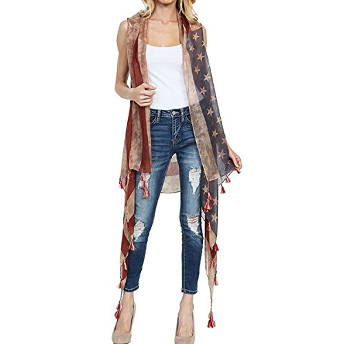 Women's Vintage American Flag Long Vest Cover Up (Tassle -