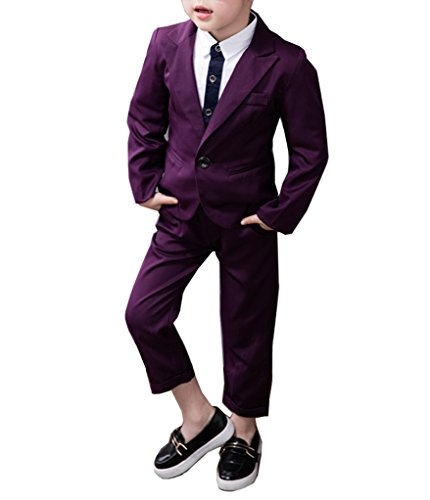 YUFAN Boys Red Purple Gray Black 4 Colors Suits Jacket and Pants Set 2 Pieces (8, Purple) ()