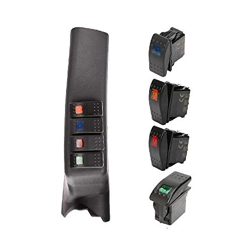 AUXMART A Pillar 4-Switch Pod Kit Black Left Side for Jeep Wrangler JK 2011-2017