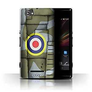 STUFF4 Phone Case / Cover for Sony Xperia M/C1905 / Britain/Green Design / Airplane Fighter Wing Collection