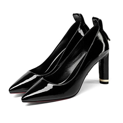Women's High Heels For Daily Work Office Pumps Court Shoes Women Patent Leather Thick Heels Female Spring Shallow Shoes Black 6rkLXy