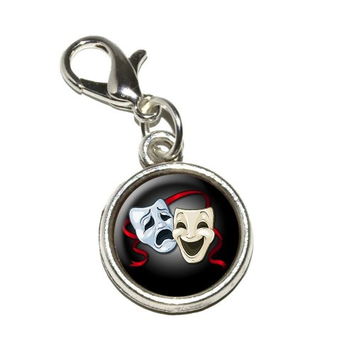 Graphics and More Drama Comedy Tragedy Masks Acting Theatre Theater Antiqued Bracelet Pendant Zipper Pull Charm with Lobster Clasp (Charm Comedy Tragedy Mask)