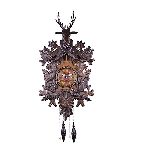 Antique Cuckoo Clock Quartz Wall Clock Deer Head House Forest Home Decor