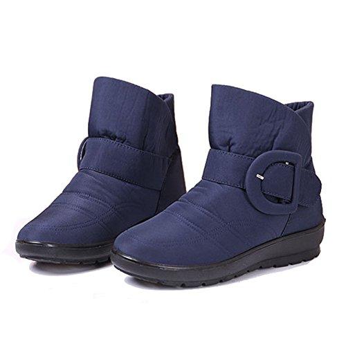 Giy Femmes Mode Boucle Fourrure Doublure Bottes De Neige Plate-forme Imperméable À Leau Chaude Hiver Chausson Pantoufle Chaussures Bleu