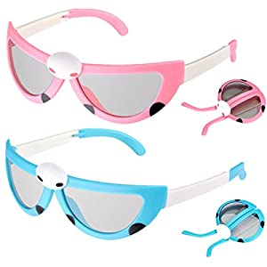 SUSOKI 2 Pc Children Collapsible Passive 3D Glasses Cartoon Beatles 3D Glass for Kids Genuine Ultimate 3D Heaven Sealed RealD Compatible Circular Polarized 3D Glasses (Blue&Pink)