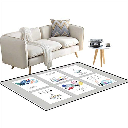 Anti Skid Rugs Set of Creative Cards with Geometric Outline Shapes and Crystals 48