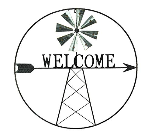 Direct International Metal Wall Sculptures Rustic Metal Windmill Welcome Sign Farmhouse Wall Decor 36 X 36 X 1 Inches Black