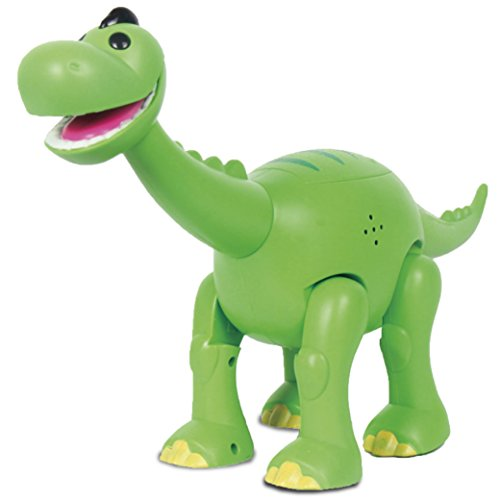 Haite Interactive Robot Dinosaur Toy, Walking Realistic Dinosaur with Sound, Built in Color- Changing LED Eyes, Glowls, Wags Tails, Gift for Kids/Boys/Girls (Dinosaur Toy-Green) -