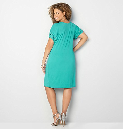 AVENUE-Womens-Eyelet-Sleeve-T-Shirt-Dress