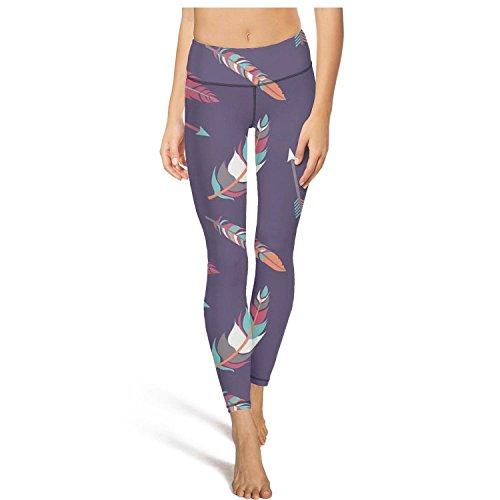 Vintage Arrow and Feather Tummy Control Yoga Pants Yoga Capris Workout Leggings ()