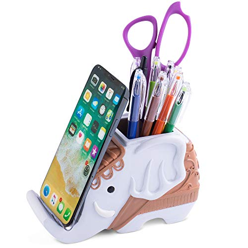 Pen Pencil Holder and Phone Stand Decorative Elephant Shaped Resin Container for Office Desk, Table Organizer, Home Decoration, Unique Cell Phone Stand for Desktop