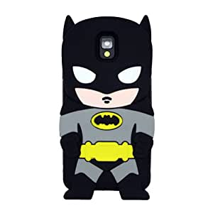 Batman Negro American Superhero La funda de silicona suave cubierta protectora para Samsung Galaxy Note 3 III N9000 N9005 N9006 N9009 with CableCenter Cable Tie