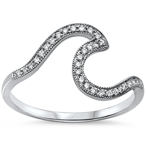 14kt White Gold Diamond Wave Ring Size - Gold Wave Ring Diamond