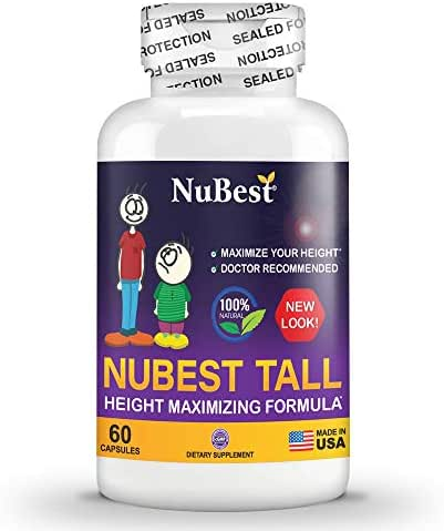 Maximum Natural Height Growth Formula - NuBest Tall 60 Veggie Capsules - Herbal Peak Height Pills - Grow Taller Supplements - Doctor Recommended - for People Who Don't Drink Milk Regularly
