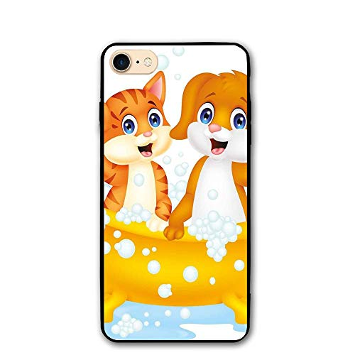 Haixia IPhone 7/8 Shell 4.7 Inch Kids Cartoon Style Cute Cat Dog In Bathtub Together Bubbles Water Splash Full Blue Yellow Brown