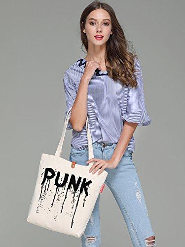 So'each Women's Punk Letters Graphic Top Handle Canvas Tote Shoulder Bag