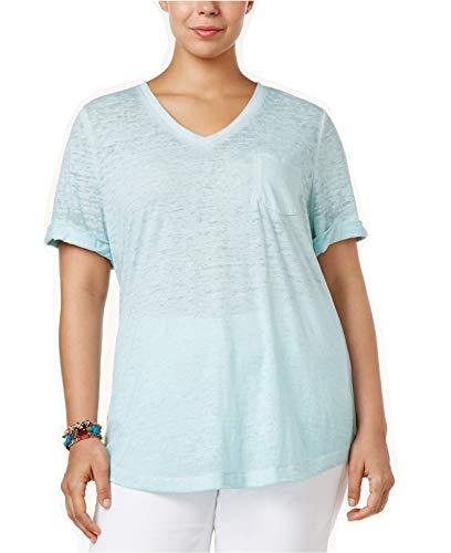 Style & Co. Women's Plus Size Burnout T-Shirt (Aqua Brook, 3X)