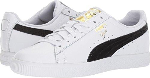 PUMA Women's Clyde Core L Foil White Black Team Gold Athletic (Puma Athletic Flats)