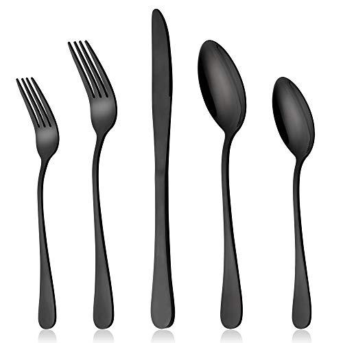 Black Silverware Set, LIANYU 20 Piece Stainless Steel Flatware Cutlery Set for 4, Mirror Finish, Dishwasher Safe