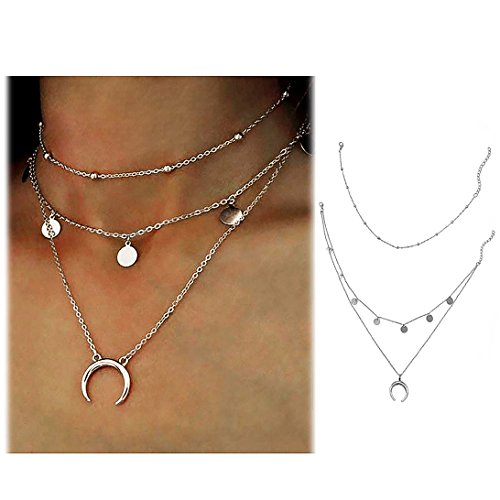 Wowanoo Layered Chain Choker Necklace Moon Sequins Pendant Chain Jewelry for Girls Women SilverS