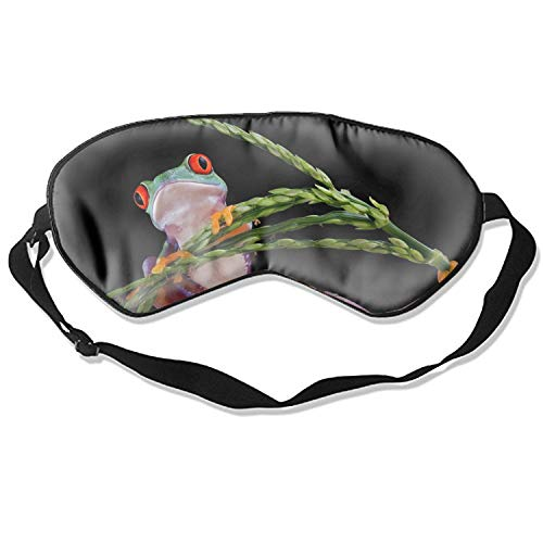 Silk Sleep Mask for Women & Men, Eye Mask for Sleeping with Adjustable Strap, Blindfold Funny Red Eye Tree Frogs -