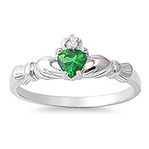 Sterling Silver Irish Claddagh Friendship Ring Simulated Emerald Heart Size 5