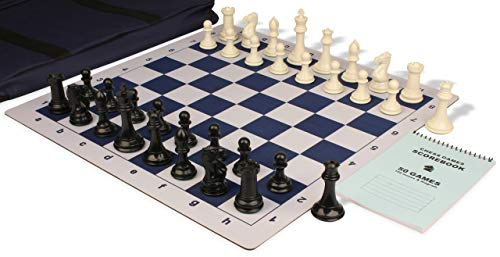 - Professional Jumbo-Floppy Chess Set Package Black & Ivory Pieces - Blue