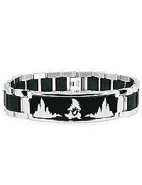 Stainless Steel 2nd Gen Larvitar Pupitar Tyranitar Pokémon Engraved Black ID Bracelet