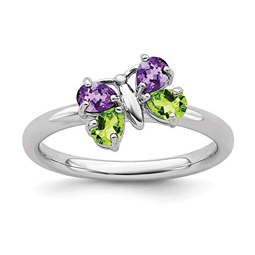 - 925 Sterling Silver Purple Amethyst Green Peridot Butterfly Band Ring Size 8.00 Stackable Gemstone Birthstone February Fine Jewelry Gifts For Women For Her