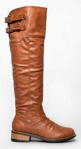 Delura GUNNER / Qupid RELAX01X Basic Casual Buckle Knee High Riding Boot, Cognac, US 10